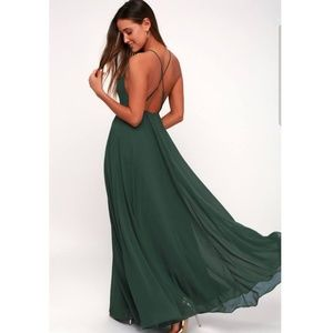Beautiful green backless maxi dress